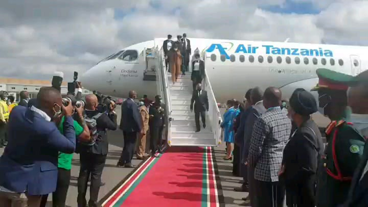 President Samia lands in Nairobi for two-day state visit